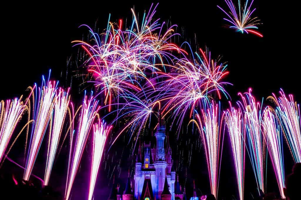 Magic Kingdom fireworks spots in front of the castle.