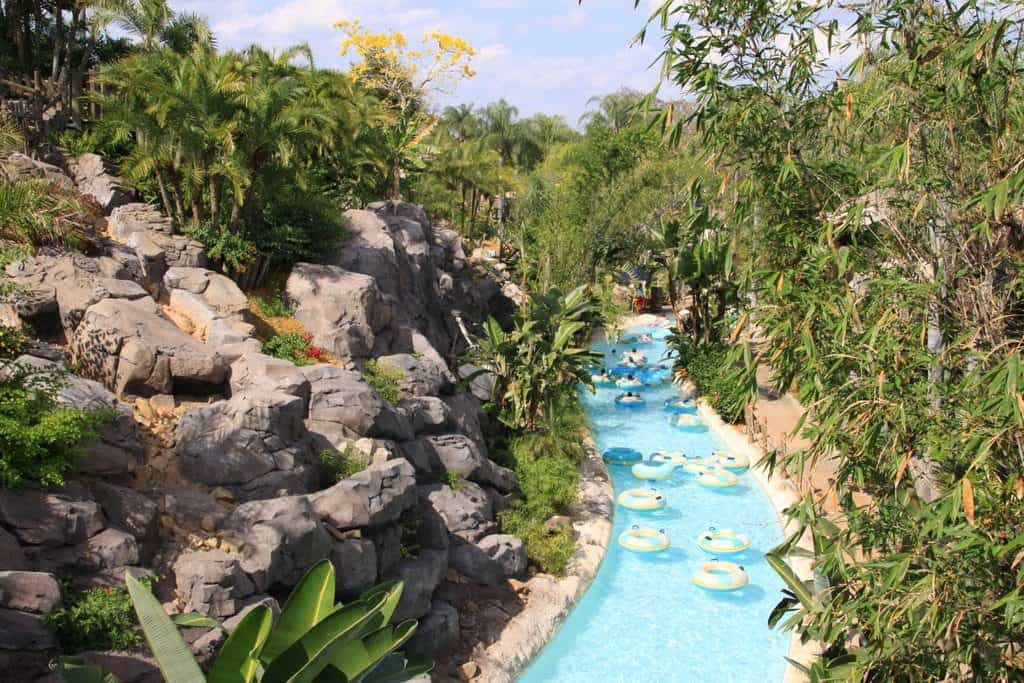 Lazy river in a jungle landscape at Disney's Typhoon Lagoon Water Park.