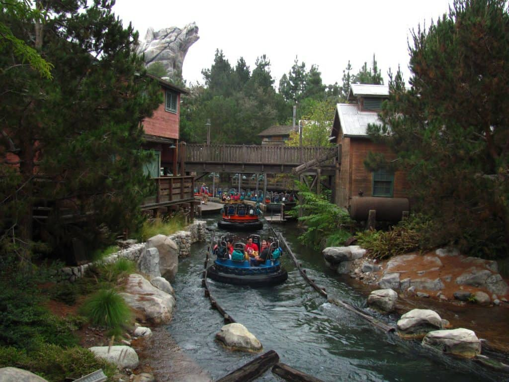 Grizzly River Run water raft ride at Disneyland that offers lockers for bags on rides.