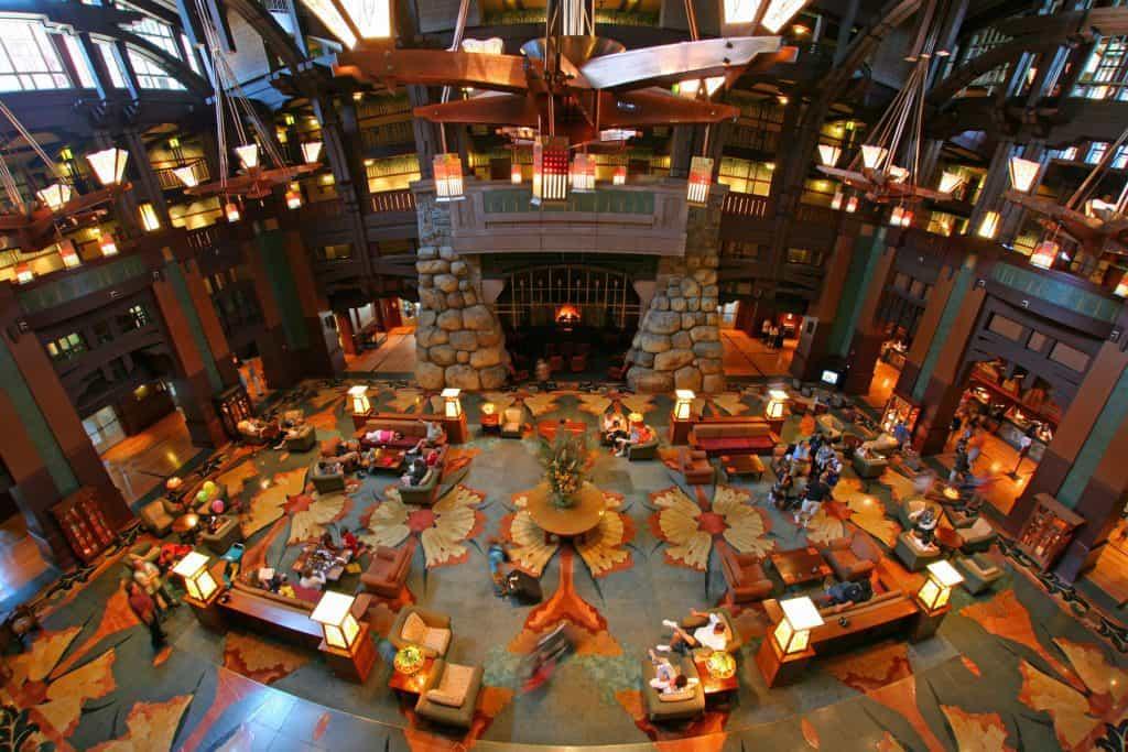 Lobby of Disney's Grand Californian Hotel.