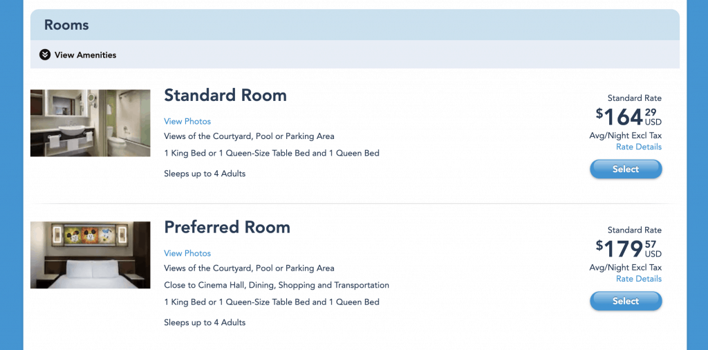 Price comparison of Standard Rooms versus Preferred Rooms at Disney World Resorts