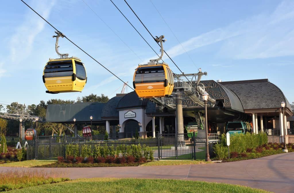 The Disney Skyliner station at Riviera Resort, which is the main transportation option to EPCOT or Hollywood Studios.