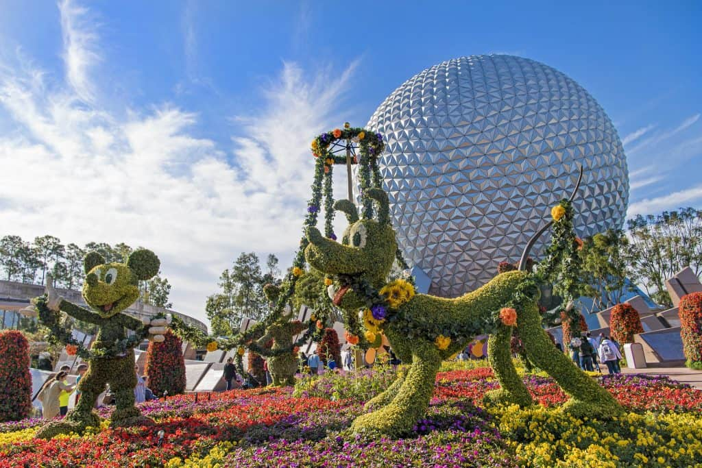 EPCOT main entrance decorated for Flower and Garden Festival.