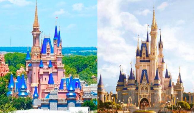 A comparison of the Walt Disney World castle and its concept art.
