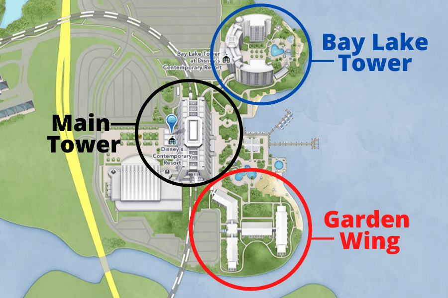 A map of where the Garden Wing at the Contemporary Resort is located in Walt Disney World.